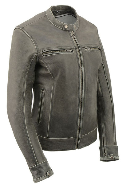 Women's Leather Motorcycle Jacket - Milwaukee Leather MLL2550 Distressed Grey Front