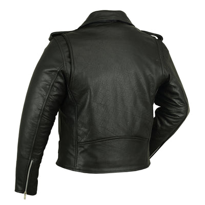 Motorcycle Jacket- Daniel Smart RC732 Classic Men's Leather Motorcycle Jacket Back