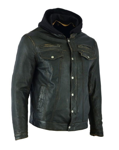 Motorcycle Jacket- Daniel Smart RC782 Lightweight Men's Distressed Leather Jacket