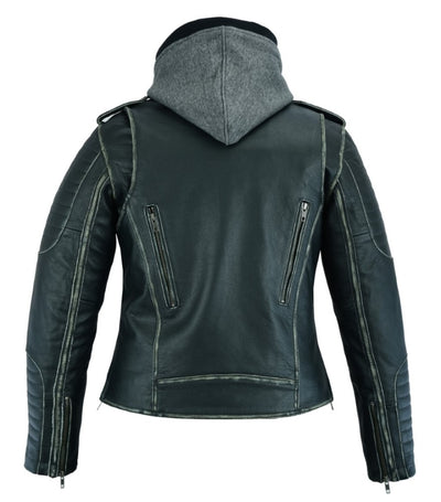 Motorcycle Jacket- Daniel Smart RC877 Women's Rub Off Leather Motorcycle Jacket Back