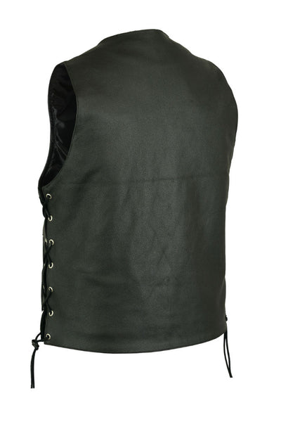 Motorcycle Vest- Daniel Smart RC142 Traditional Buffalo Snap Lace Side Leather Vest Back