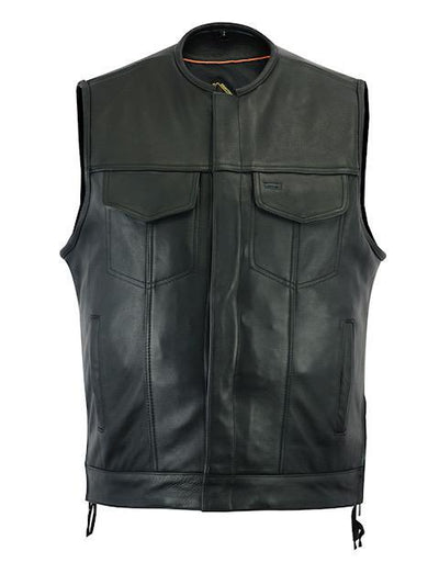 Motorcycle Vest- Daniel Smart RC187 MC Leather Vest No Collar Front