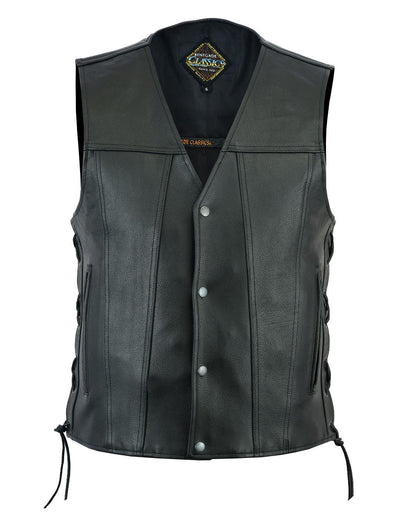 Motorcycle Vest- Daniel Smart Single Panel w/Lace Sides Front