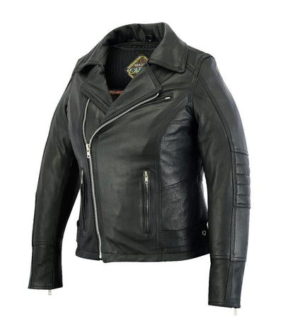 Motorcycle Jacket- Daniel Smart RC835 Women's MC Leather Jacket Side