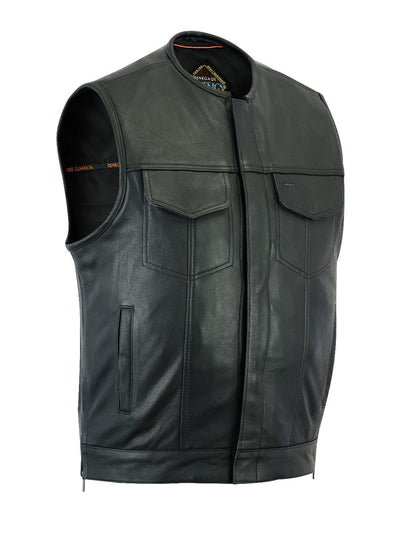 Motorcycle Vest- Daniel Smart RC187 MC Leather Vest No Collar