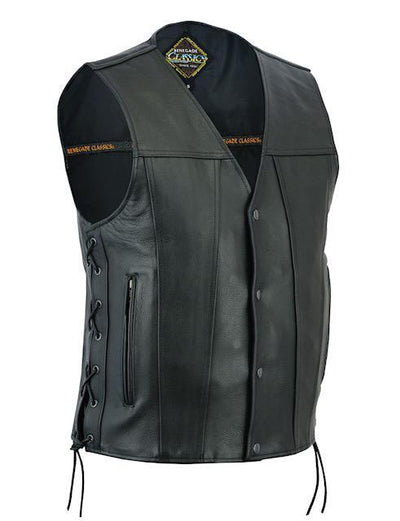 Motorcycle Vest- Daniel Smart Single Panel w/Lace Sides