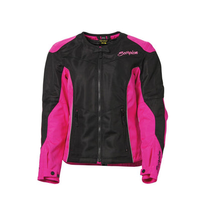 Motorcycle Jacket- Scorpion Exo Verano Women's Armored Textile Jacket Black & Pink Front