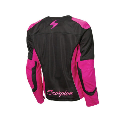 Motorcycle Jacket- Scorpion Exo Verano Women's Armored Textile Jacket Black & Pink Back
