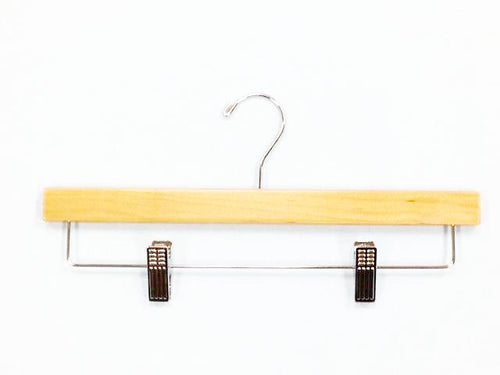 "14"" X 3/8"" Skirt/Pant Hanger with Squared Ends, Natural/Chrome-Case of 100"