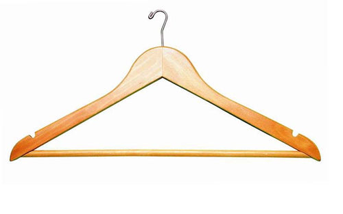 "17"" Long X 1/2"" Thick Men's Hangers, Fixed Bar - Natural/Chrome-Case of 100"