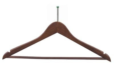 "17"" Long X 1/2"" Thick Men's Hangers, Fixed Bar - Walnut/Chrome-Case of 100"