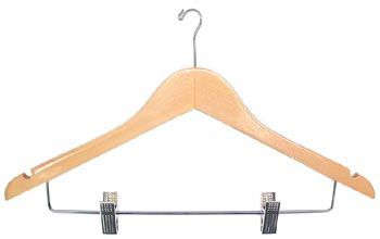 "17"" Long X 1/2"" Thick Ladies' Hangers with Clips - Natural/Chrome-Case of 100"