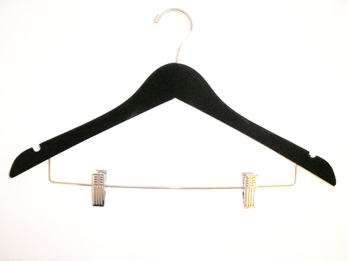 "17"" Long X 1/2"" Thick Ladies' Hangers with Clips - Black/Chrome-Case of 100"