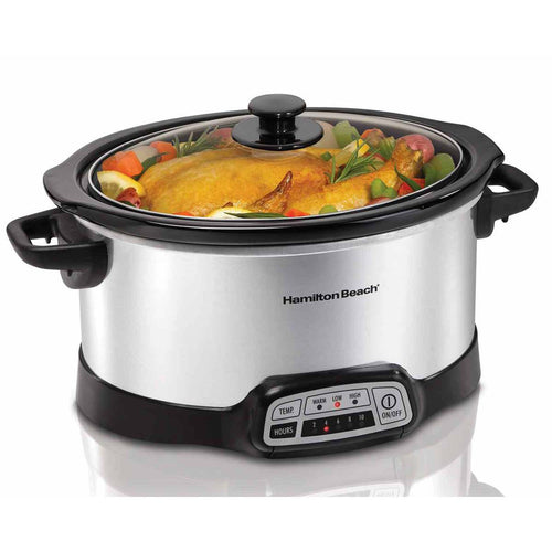 Hamilton Beach Programmable 5 Quart Slow Cooker, Sliver, Model 33453