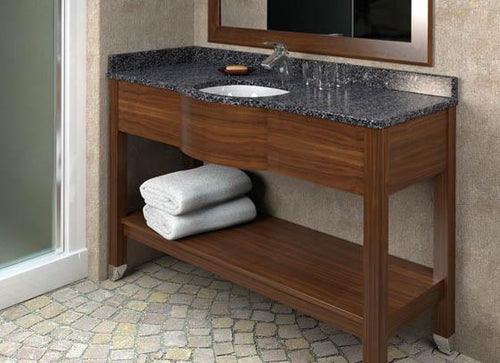 Rectangle Vanity, Brown with Grey Marble