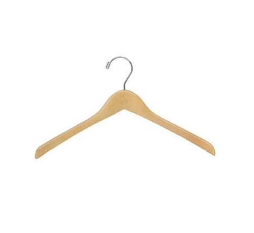 "17"" X 1/2"" Jacket Hanger, No Bar - Natural/Chrome-Case of 100"