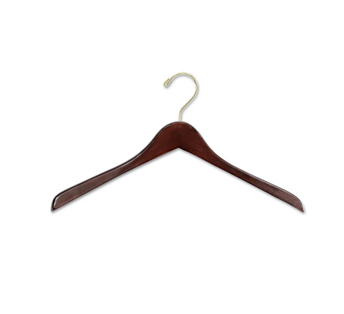 "17"" X 1/2"" Jacket Hanger, No Bar - Walnut/Brass-Case of 100"