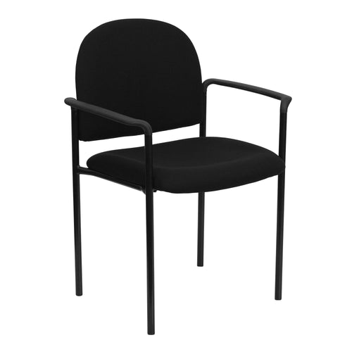 Comfort Black Fabric Stackable Steel Side Reception Chair with Arms [BT-516-1-BK-GG]