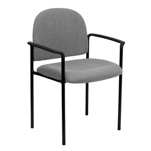 Comfort Gray Fabric Stackable Steel Side Reception Chair with Arms [BT-516-1-GY-GG]