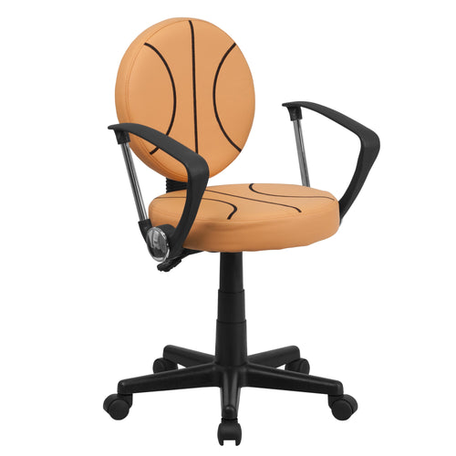 Basketball Swivel Task Chair with Arms [BT-6178-BASKET-A-GG]