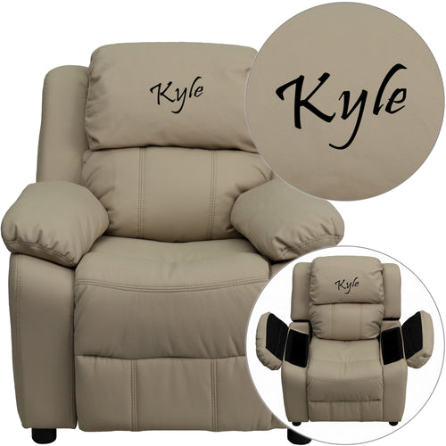 Personalized Deluxe Padded Beige Vinyl Kids Recliner with Storage Arms [BT-7985-KID-BGE-TXTEMB-GG]