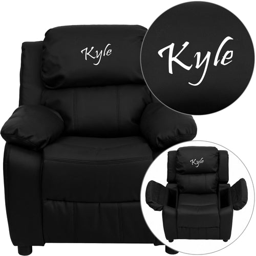 Personalized Deluxe Padded Black Leather Kids Recliner with Storage Arms [BT-7985-KID-BK-LEA-TXTEMB-GG]