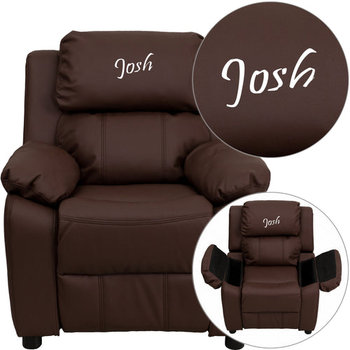 Personalized Deluxe Padded Brown Leather Kids Recliner with Storage Arms [BT-7985-KID-BRN-LEA-TXTEMB-GG]