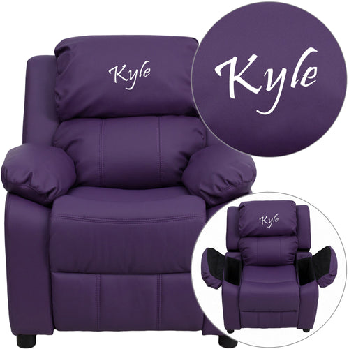 Personalized Deluxe Padded Purple Vinyl Kids Recliner with Storage Arms [BT-7985-KID-PUR-TXTEMB-GG]
