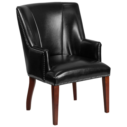 HERCULES Sculpted Comfort Series Black Leather Side Reception Chair [CH-162930-BK-GG]