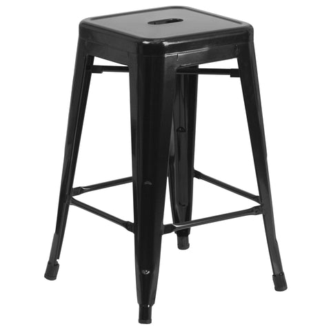 24'' High Backless Black Metal Indoor-Outdoor Counter Height Stool with Square Seat [CH-31320-24-BK-GG]