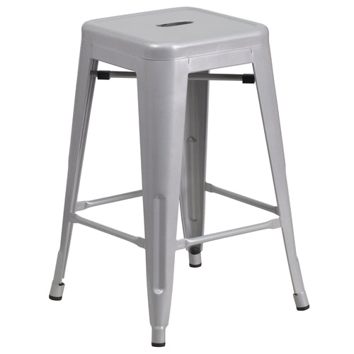 24'' High Backless Silver Metal Indoor-Outdoor Counter Height Stool with Square Seat [CH-31320-24-SIL-GG]