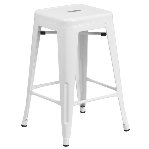 24'' High Backless White Metal Indoor-Outdoor Counter Height Stool with Square Seat [CH-31320-24-WH-GG]