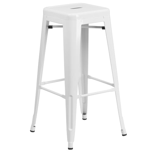 30'' High Backless White Metal Indoor-Outdoor Barstool with Square Seat [CH-31320-30-WH-GG]