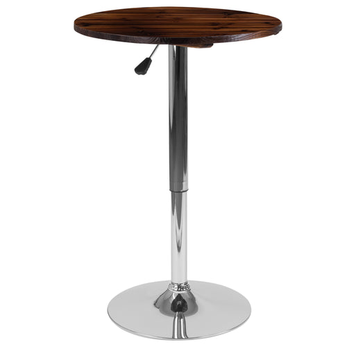 23.5'' Round Adjustable Height Rustic Pine Wood Table (Adjustable Range 26.25'' - 35.5'') [CH-9-GG]