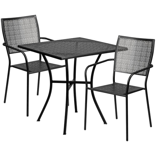 28'' Square Black Indoor-Outdoor Steel Patio Table Set with 2 Square Back Chairs [CO-28SQ-02CHR2-BK-GG]
