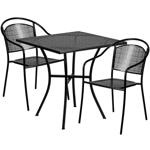 28'' Square Black Indoor-Outdoor Steel Patio Table Set with 2 Round Back Chairs [CO-28SQ-03CHR2-BK-GG]