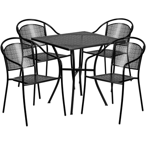 28'' Square Black Indoor-Outdoor Steel Patio Table Set with 4 Round Back Chairs [CO-28SQ-03CHR4-BK-GG]