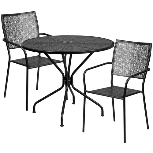 35.25'' Round Black Indoor-Outdoor Steel Patio Table Set with 2 Square Back Chairs [CO-35RD-02CHR2-BK-GG]