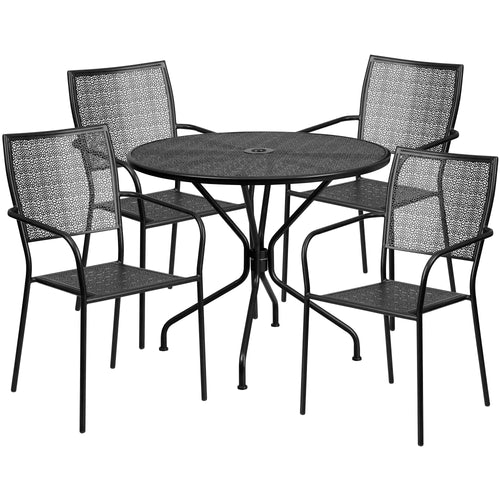 35.25'' Round Black Indoor-Outdoor Steel Patio Table Set with 4 Square Back Chairs [CO-35RD-02CHR4-BK-GG]