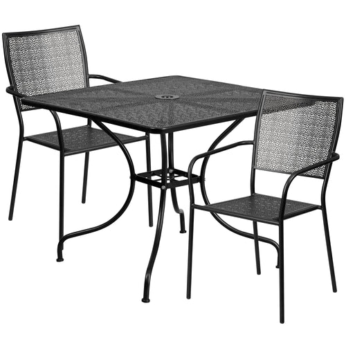 35.5'' Square Black Indoor-Outdoor Steel Patio Table Set with 2 Square Back Chairs [CO-35SQ-02CHR2-BK-GG]
