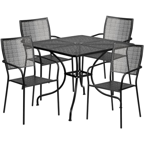 35.5'' Square Black Indoor-Outdoor Steel Patio Table Set with 4 Square Back Chairs [CO-35SQ-02CHR4-BK-GG]