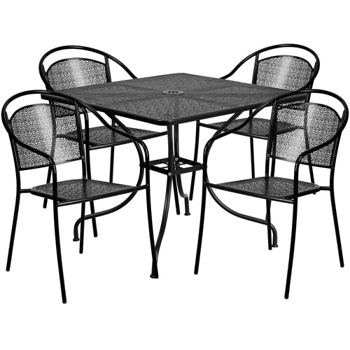 35.5'' Square Black Indoor-Outdoor Steel Patio Table Set with 4 Round Back Chairs [CO-35SQ-03CHR4-BK-GG]