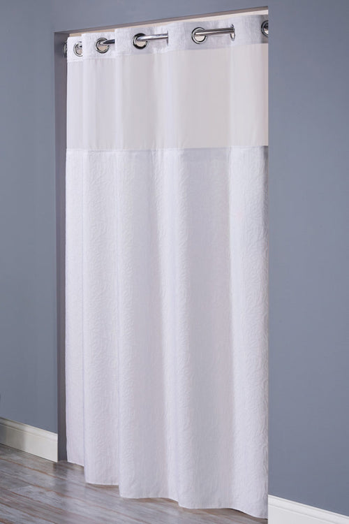 Hookless CORAL -WHITE 71 X 77 Fabric Shower Curtain - Case of 12