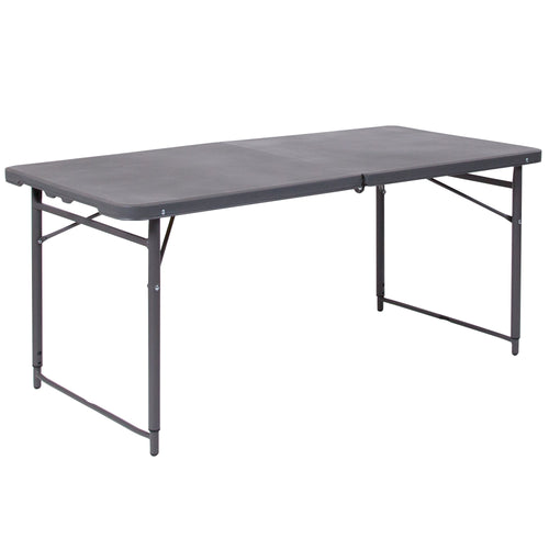 23.5''W x 48.25''L Height Adjustable Bi-Fold Dark Gray Plastic Folding Table with Carrying Handle [DAD-LF-122Z-DG-GG]