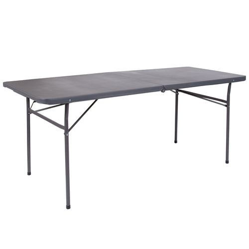 30''W x 72''L Bi-Fold Dark Gray Plastic Folding Table with Carrying Handle [DAD-LF-183Z-DG-GG]