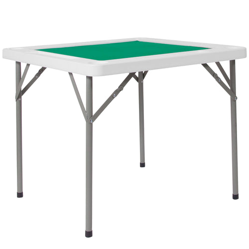 34.5'' Square Granite White Folding Game Table with Green Playing Surface [DAD-MJZ-88-GG]