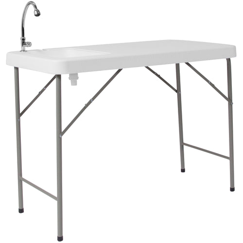 23''W x 45''L Granite White Plastic Folding Table with Sink [DAD-PYZ-116-GG]