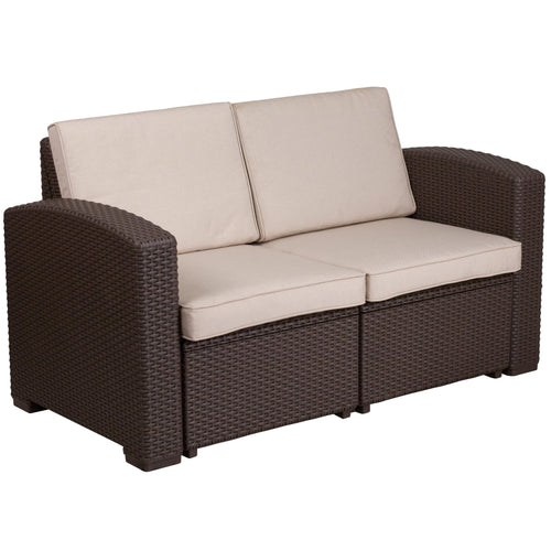 Chocolate Brown Faux Rattan Loveseat with All-Weather Beige Cushions [DAD-SF1-2-GG]