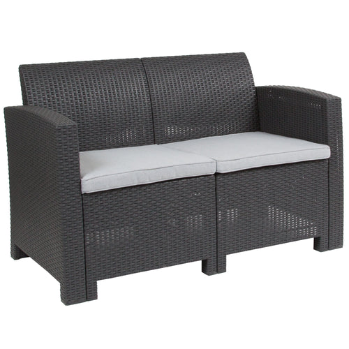Dark Gray Faux Rattan Loveseat with All-Weather Light Gray Cushions [DAD-SF2-2-DKGY-GG]