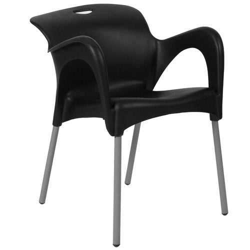 HERCULES Series Black Plastic Stack Chair with Arms and Titanium Frame [DAD-YCD-41-CH-GG]